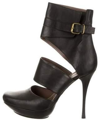 Lanvin Leather Cutout Ankle Boots Black Leather Cutout Ankle Boots
