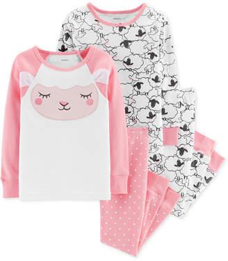 Carter's Baby Girls 4-Pc. Cotton Snug-Fit Sheep Pajamas Set
