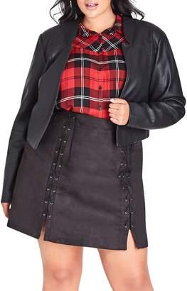 City Chic Faux Leather Bolero Jacket