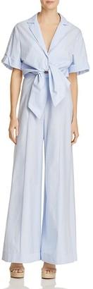 PETERSYN Belle Stripe Wide-Leg Jumpsuit $380 thestylecure.com