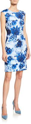 T Tahari Floral-Print Sleeveless Sheath Dress