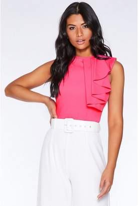 Quiz Hot Pink Frill Sleeveless Bodysuit