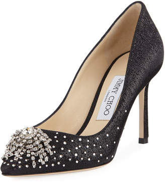 Jimmy Choo Joan 85mm Wet-Look Fabric Pumps with Firework Crystal
