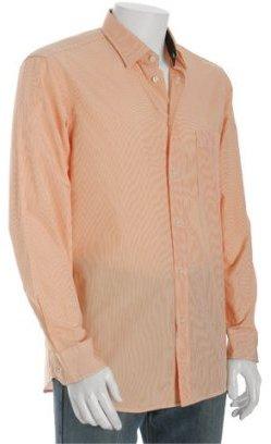 Zegna Sport orange striped button front shirt