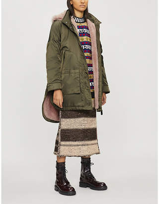 Yves Salomon ARMY Oversized shell and shearling parka coat