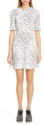 Stella McCartney Dot Print Fit & Flare Stretch Cady Dress