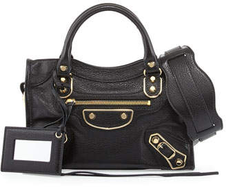 Balenciaga Metallic Edge City Mini Bag, Black