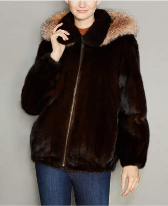 The Fur Vault Mink Fur Hooded Bomber Jacket