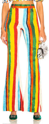 Dolce & Gabbana Rainbow Stripe Brocade Flared Trousers in Multicolor | FWRD
