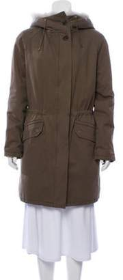 Yves Salomon Army by Fur-Trimmed Short Coat Green Army by Fur-Trimmed Short Coat