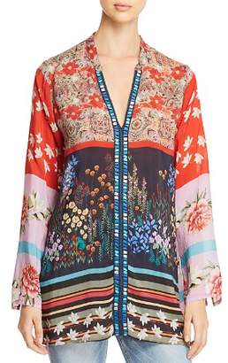 Johnny Was Mixed Floral-Print V-Neck Blouse