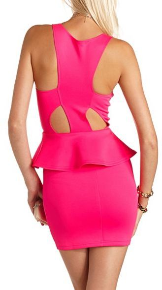 Charlotte Russe Studded Cutout Peplum Dress