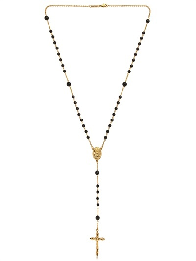 Dolce & Gabbana Gold And Black Onyx Rosary Necklace