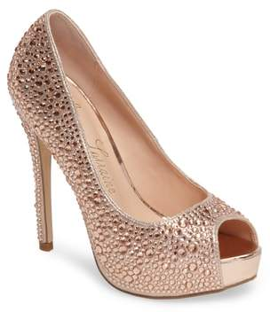 Lauren Lorraine 'Candy' Crystal Peep Toe Pump