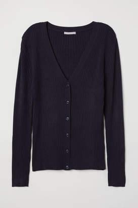H&M Rib-knit Cardigan - Blue