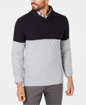 Tasso Elba Men Monza Cable-Knit Shawl-Collar Sweater