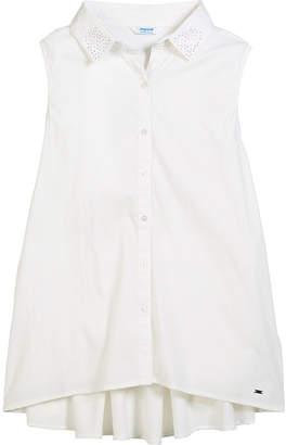 Mayoral Sleeveless Blouse w/ Rhinestone Collar, Size 8-16