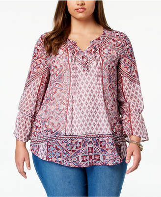Style&Co. Style & Co Plus Size Mixed-Print Peasant Top, Created for Macy's