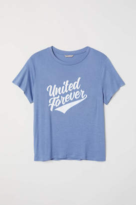 H&M H & M+ T-shirt with Motif - Dark blue/United Forever - Women