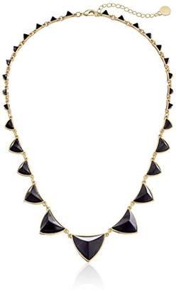 House Of Harlow Plated Pyramid Station Black Necklace