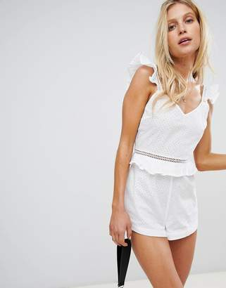 Warehouse beach romper with broderie detail in white