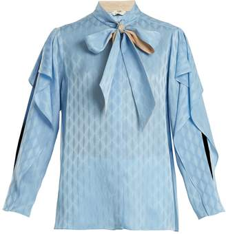 Fendi Tie-neck ruffle-trimmed silk blouse