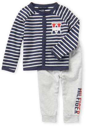 Tommy Hilfiger Infant Boys) Two-Piece Long Sleeve Cardigan & Sweatpants Set