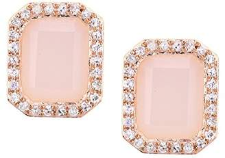Naava Women's 9 ct Rose Gold Diamond and Pink Opal Earrings