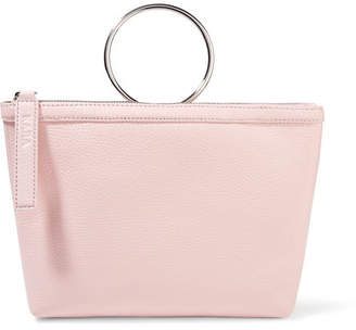 Kara Ring Textured-leather Clutch - Baby pink