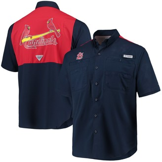 Columbia Unbranded Men's Navy/Red St. Louis Cardinals Tamiami Colorblock Button-Down Omni-Shade Shirt