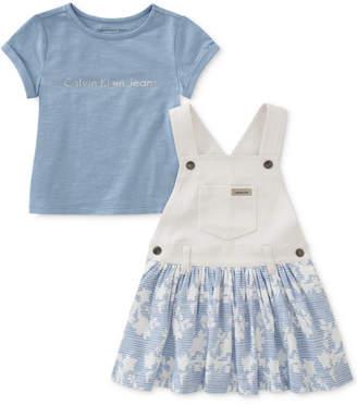 Calvin Klein Baby Girls 2-Pc. Graphic-Print Cotton T-Shirt & Jumper Set