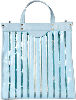 Urban Expressions Blue Emma Stripe PVC Vegan Tote