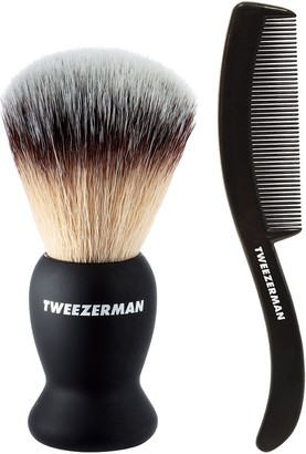 Tweezerman Deluxe Shaving Brush and Bonus Moustache/Beard Comb