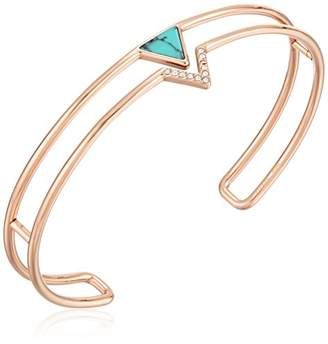 Fossil Simulated Turquoise Triangle Open Cuff Bracelet