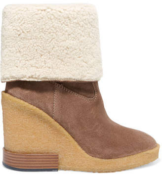 Tod's Zeppa Para Shearling-trimmed Suede Wedge Ankle Boots - Light brown