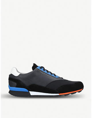 BOSS Zephir leather and textile trainers