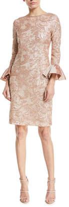 Rickie Freeman For Teri Jon Sequin Taffeta Bell-Cuff Cocktail Dress