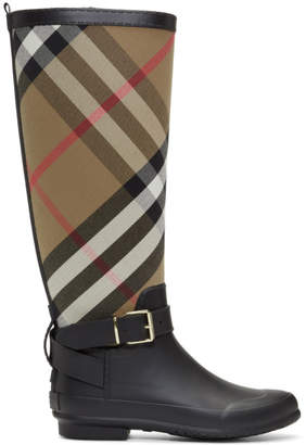 Burberry Black and Beige Simeon Rain Boots