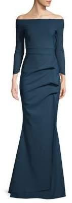 Chiara Boni Folded Off-the-Shoulder Mermaid Gown