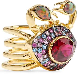 Noir 14-karat Gold-plated, Crystal And Stone Ring