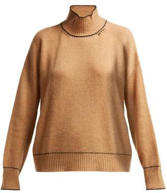 Marni Intarsia Knit Cashmere Sweater - Womens - Camel