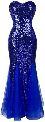 Angel-fashions Women's Sleeveless Blue Sequins Tulle Evening Dress (M, )