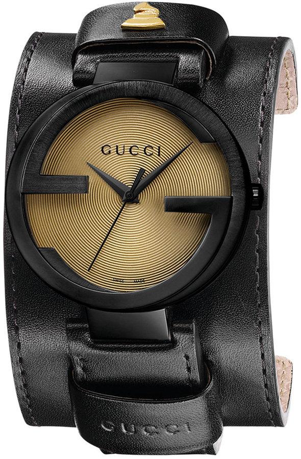 Gucci Watch, Unisex Swiss Interlocking Special Edition Grammy® Black Leather Cuff Strap 42mm YA133202 Web ID: 793440
