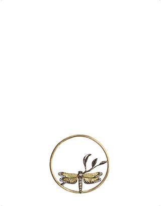 Rosegold Annoushka Hoopla dragonfly diamond 18ct rose-gold pendant
