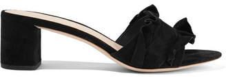Loeffler Randall Vera Ruffle-trimmed Suede Sandals - Black