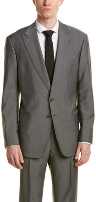 Armani Collezioni Wool & Mohair-Blend Suit With Flat Front Pant