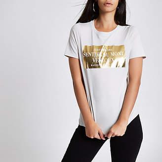River Island Beige 'Sentier Du Mont' fitted T-shirt