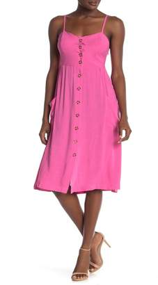 GOOD LUCK GEM Button Front Sleeveless Midi Dress