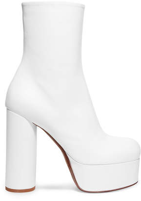 Vetements Leather Platform Ankle Boots - White