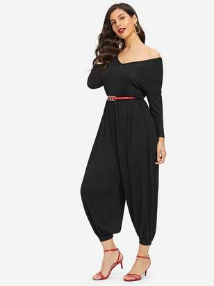 Shein Cutout Back Harem Jumpsuit With Belt